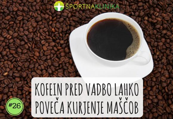 Kofein pred vadbo lahko poveča kurjenje maščob